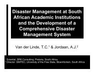Disaster Management at South African Academic ... - Conferences