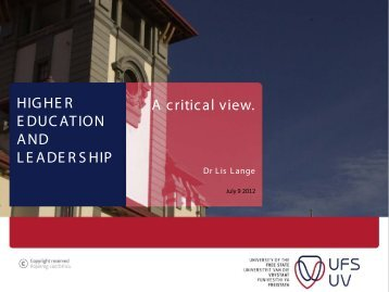 HIGHER EDUCATION AND LEADERSHIP A critical ... - Conferences