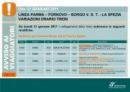dal 31 gennaio 2011 linea parma – fornovo – borgo vdt ... - Trenitalia