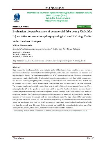 Evaluation the performance of commercial faba bean (Vicia faba L.) varieties on some morpho-physiological and N-fixing Traits under Eastern Ethiopia