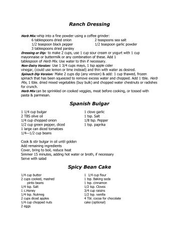 Recipes from STTACC 2012
