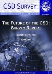 CSD 11 Survey Report - Earth Summit 2002