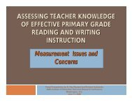 Assessing Teacher Knowledge of Effective Primary Grade Reading