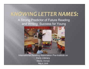 Knowing Letter Names - Emma Eccles Jones Center - Utah State ...