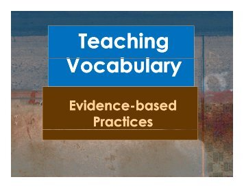 Teaching Vocabulary - Emma Eccles Jones Center - Utah State ...