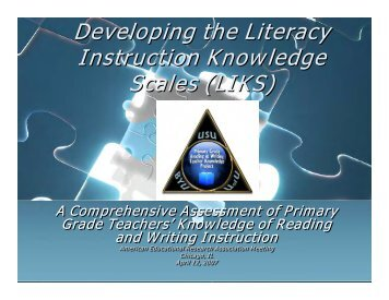 Developing the Literacy Instruction Knowledge Scales (LIKS ...