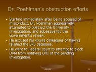 Dr. Poehlman's obstruction efforts - Division of Biomedical Science