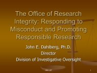 The Office of Research Integrity - Division of Biomedical Science