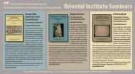 Oriental Institute Seminars - Oxbow Books