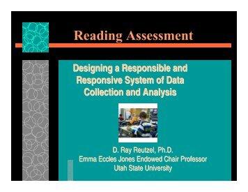 Reading Assessment - Emma Eccles Jones Center - Utah State ...