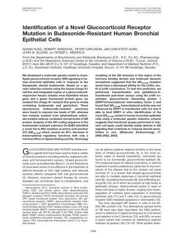 Identification of a Novel Glucocorticoid Receptor Mutation in ...