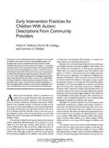 Early Intervention Practices for Children With Autism - Child and ...
