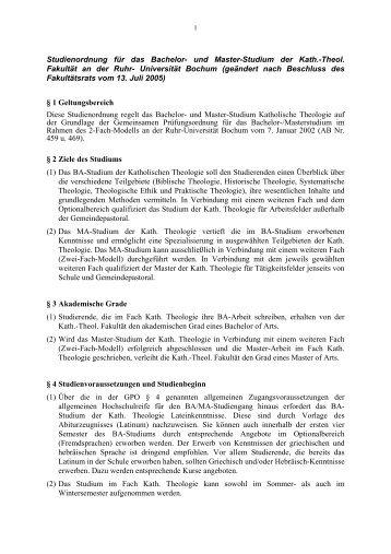 Studienordnung für das Bachelor- und Master-Studium der Kath ...