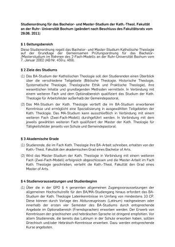 Studienordnung B.A. / M.A. - Ruhr-Universität Bochum