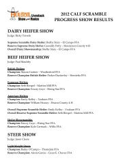 2012 calf scramble progress show results dairy heifer show beef ...