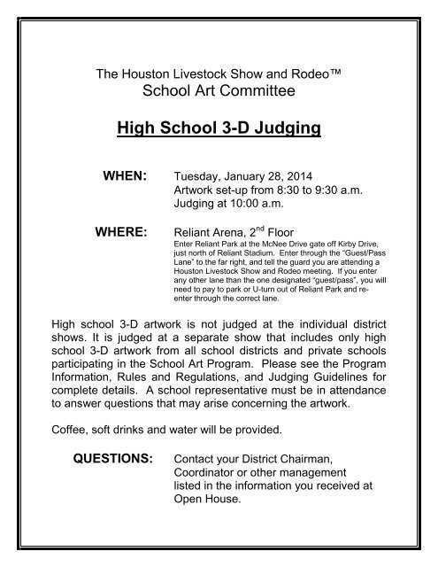 High School 3-D Judging Flyer - Houston Livestock Show and Rodeo