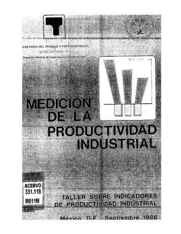 Medición de la Productividad Industrial Talleres sobre Indicadores ...