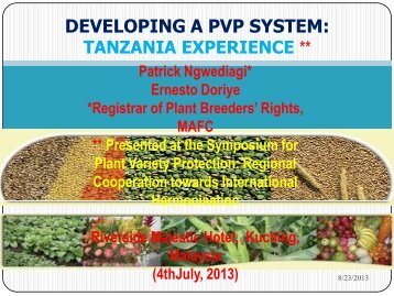 Developing a PVP System: Tanzania Experience