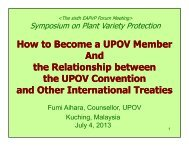 UPOV - The East Asia Plant Variety Protection Forum