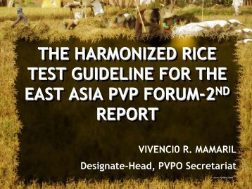 THE HARMONIZED RICE TEST GUIDELINE FOR THE EAST ASIA PVP FORUM-2ND ...