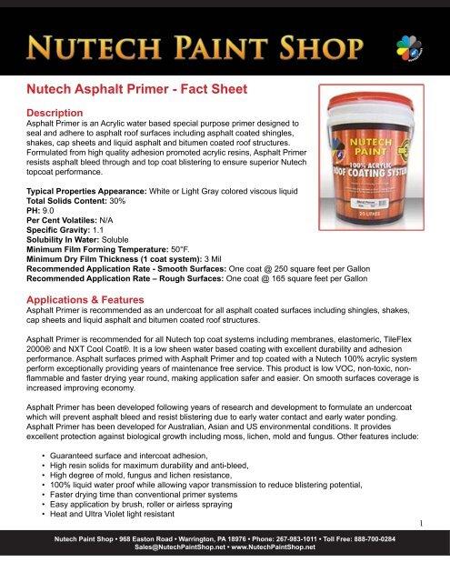 Nutech Asphalt Primer - Fact Sheet - iMetal net