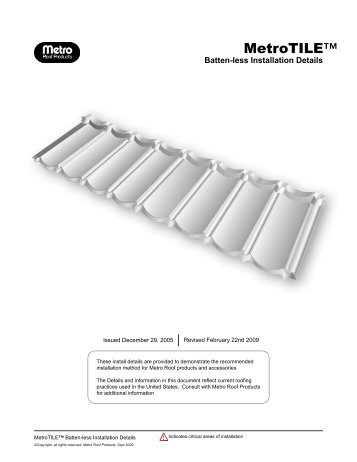 Metro Tile Battenless Installation Guide - Best Buy Metals