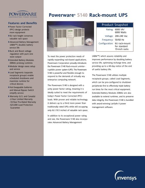 Powerware® 5140 Rack-mount UPS Brochure - Nolan Power Group