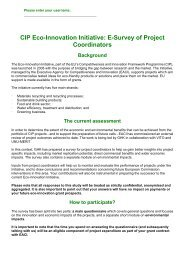 CIP Eco-Innovation Initiative: E-Survey of Project Coordinators - GHK