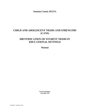 child and adolescent needs and strengths - Sonoma County SELPA
