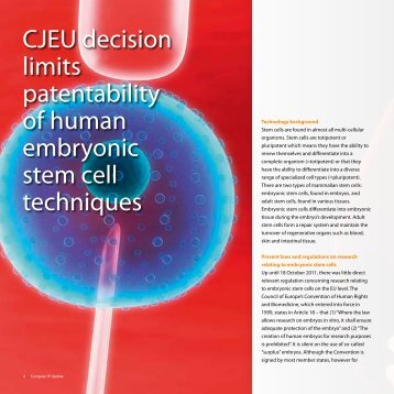 CJEU decision limits patentability of human embryonic stem cell ...