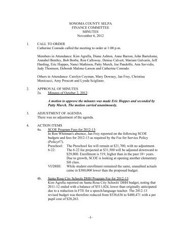 11-06-12 Finance Minutes Final - Sonoma County SELPA