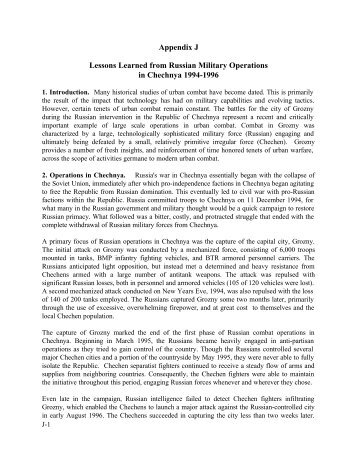 Lessons Learned from Russian Military Operations ... - BiggerHammer