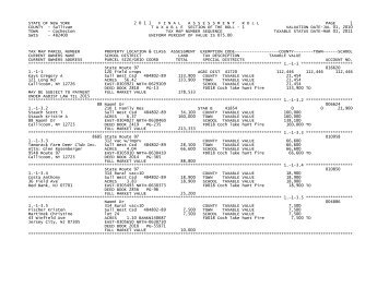 STATE OF NEW YORK 2 0 1 1 FINALASSESSMENTROLL PAGE 1 ...