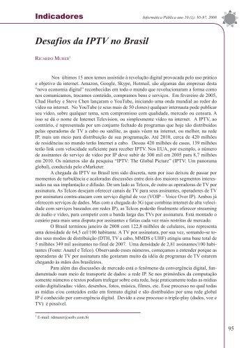 Desafios da IPTV no Brasil - Revista iP