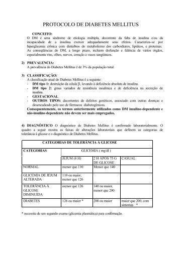 PROTOCOLO DE DIABETES MELLITUS - Hospital Ipanema Plus