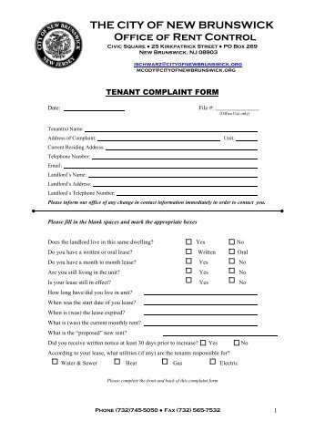 New Tenant Occupancy Information Form - City of Venice