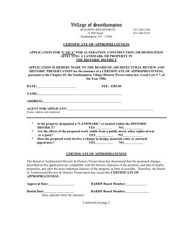 Certificate of Appropriateness (COA) Application - Nelson County ...