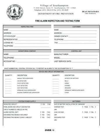 Fire Alarm Inspection/Test Supplemental Form - Village of Pleasant ...
