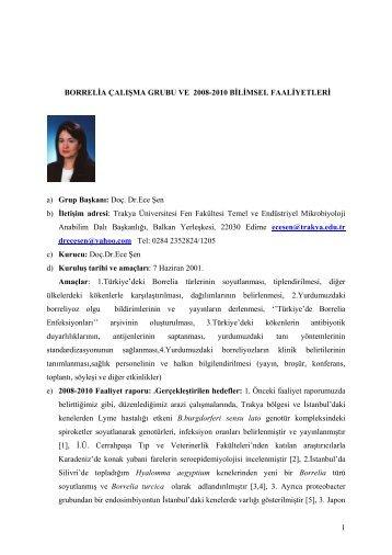 Borrelia Çalışma Grubu ve 2008-2010 Bilimsel Faaliyetleri - Türk ...
