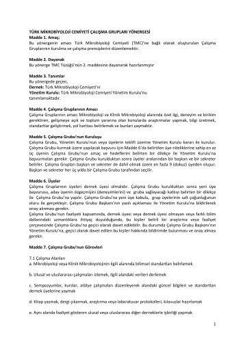 türk mikrobiyoloji cemiyeti çalışma grupları yönergesi