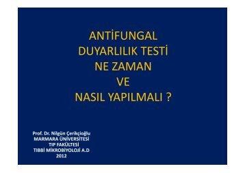 antifungal duyarlılık testi ne zaman ve nasıl yapılmalı