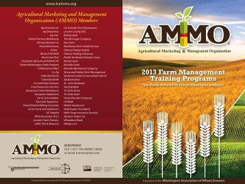 2013 Farm Management Schedule of Trainings - WSU Extension