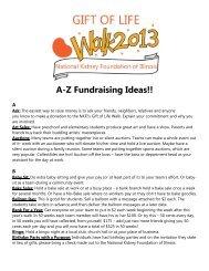A-Z Fundraising Ideas!! - National Kidney Foundation of Illinois