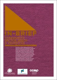 Community Sector Needs and Priorities - Social Welfare Portal