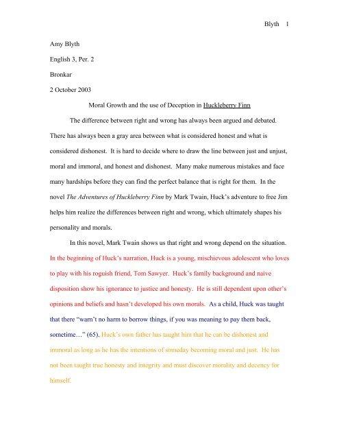 huck sample deception essay   cibacs