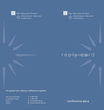 Conference 2012 reply card - The Ireland Funds