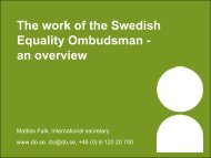 The work of the Swedish Equality Ombudsman - Indevelop