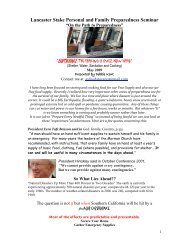 Lancaster Stake Personal and Family Preparedness Seminar