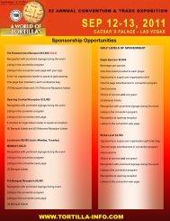 Sponsorship Opportunities - Tortilla Industry Association