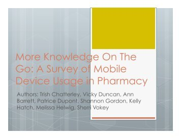 A Survey of Mobile Device Usage in Pharmacy - CHLA-ABSC